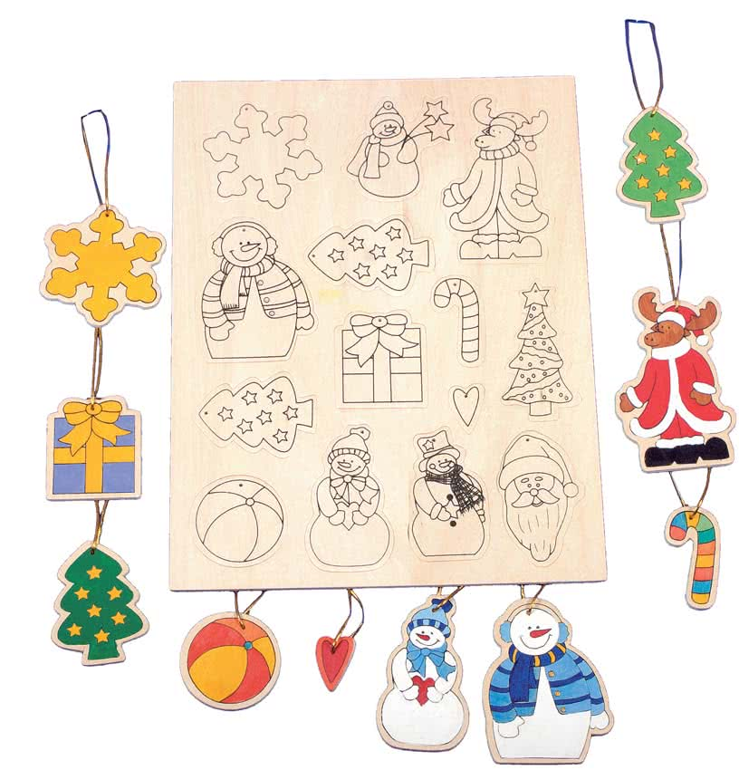 Decorazioni natalizie da colorare e appendere sull 39 albero for Decorazioni natalizie in legno da appendere