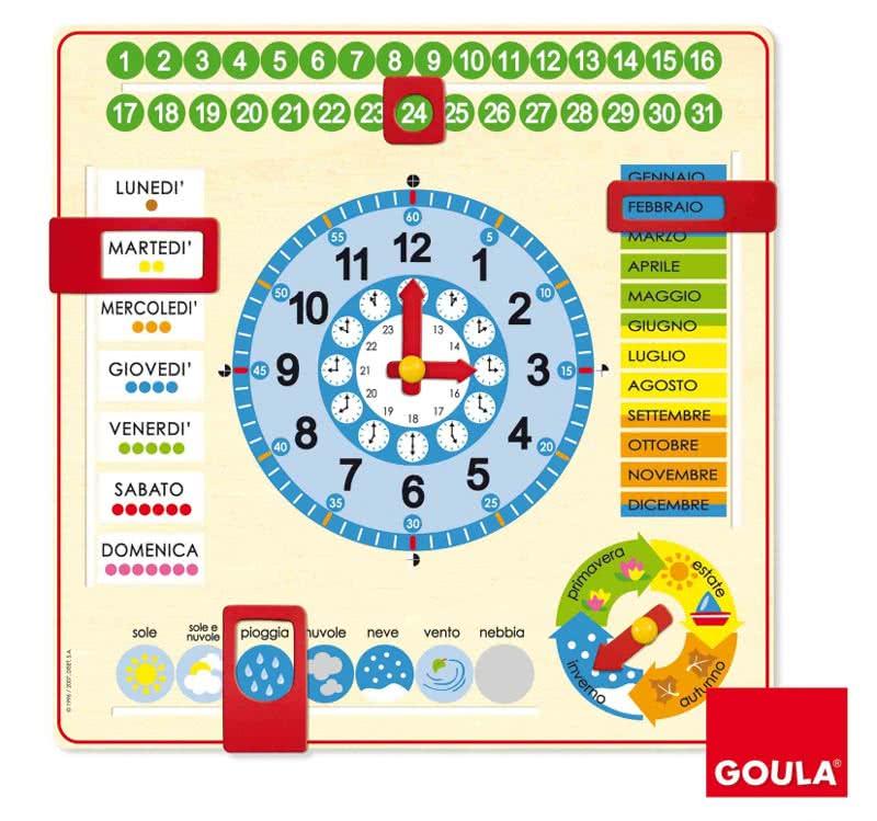 Connu Orologio e calendario in legno Goula - Giocattoli educativi per  LH42