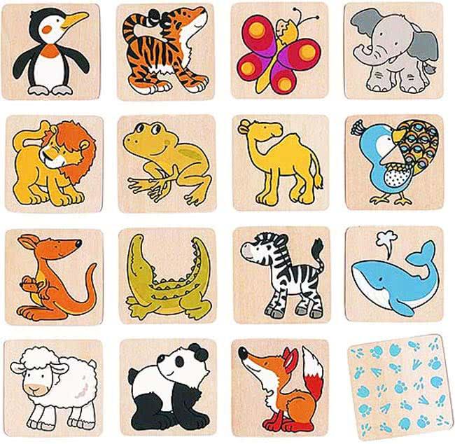 Memo animali in legno giocattoli di legno goki for Memory da stampare per bambini