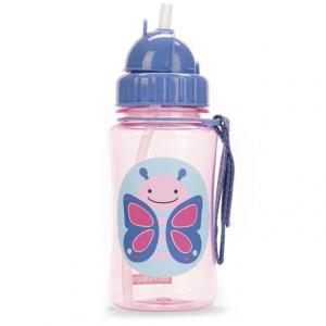 Bottiglia portatile con cannuccia - farfalla