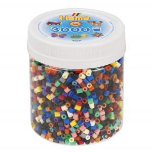 Barattolo Hama Beads pyssla 3000 pezzi in 22 colori