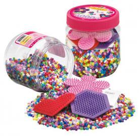 Hama Beads Barattolo di perline rosa + 3 basi