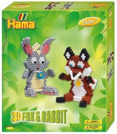 Confezione regalo hama beads - Coniglio e volpe 3d