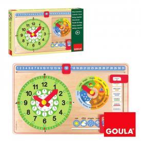 Orologio e calendario in legno