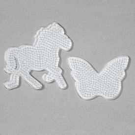 2 basi midi trasparenti cavallo e farfalla