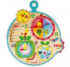 orologio e calendario in legno janod